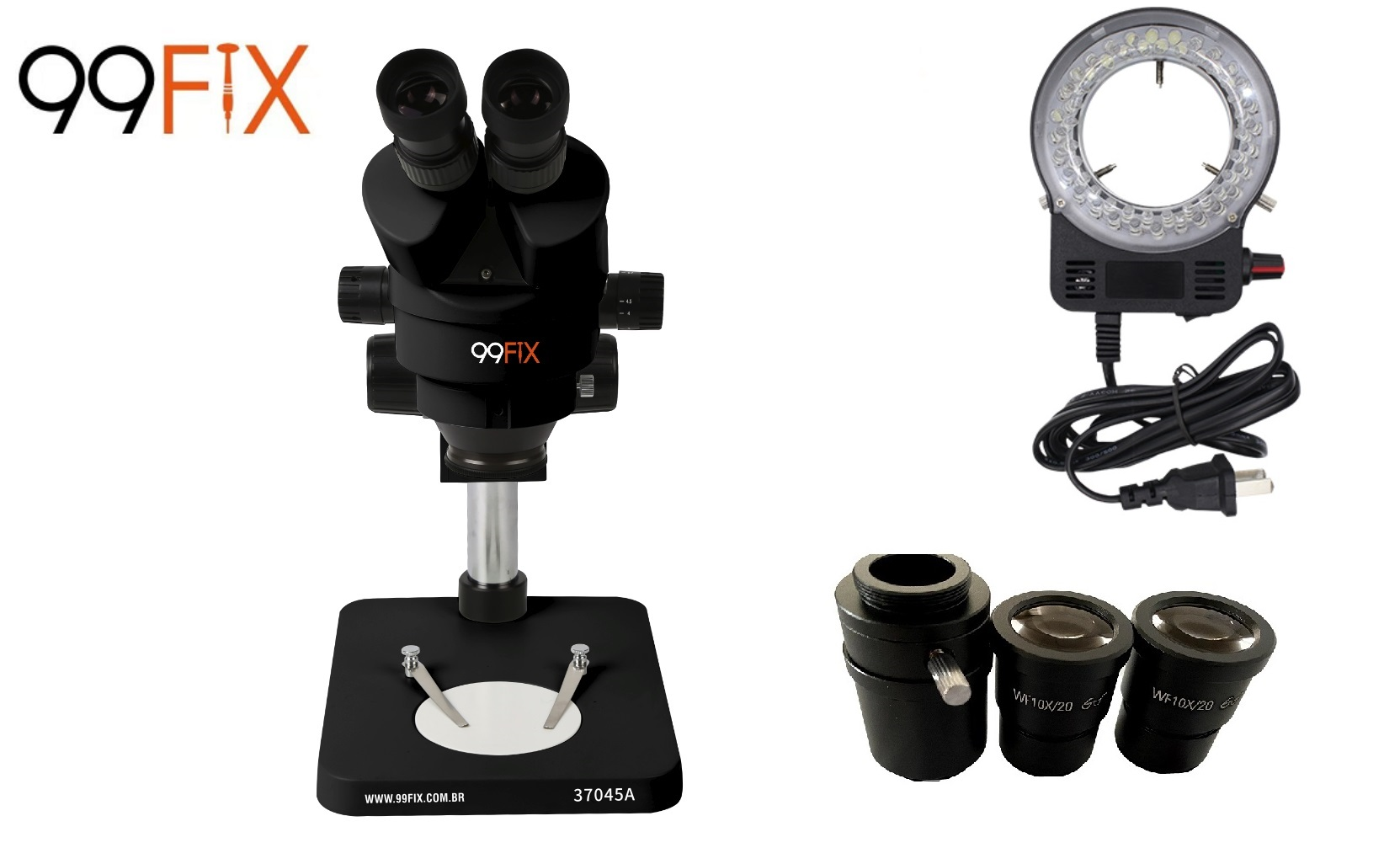 99FIX 37045A MICROSCÓPIO ESTEREOSCÓPICO TRINOCULAR Preto Simul-focal  + Lâmpada de LED Preta +NF
