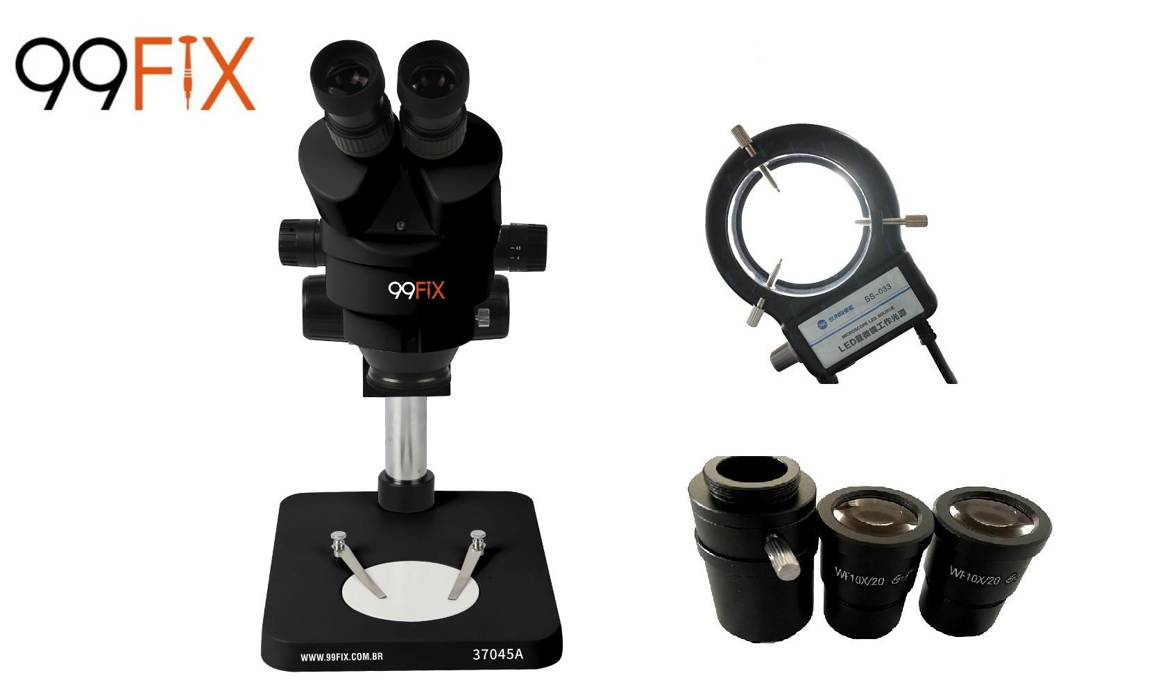 99FIX 37045A MICROSCÓPIO ESTEREOSCÓPICO TRINOCULAR Preto Simul-focal  + Lâmpada de LED SS-033 Preta +NF