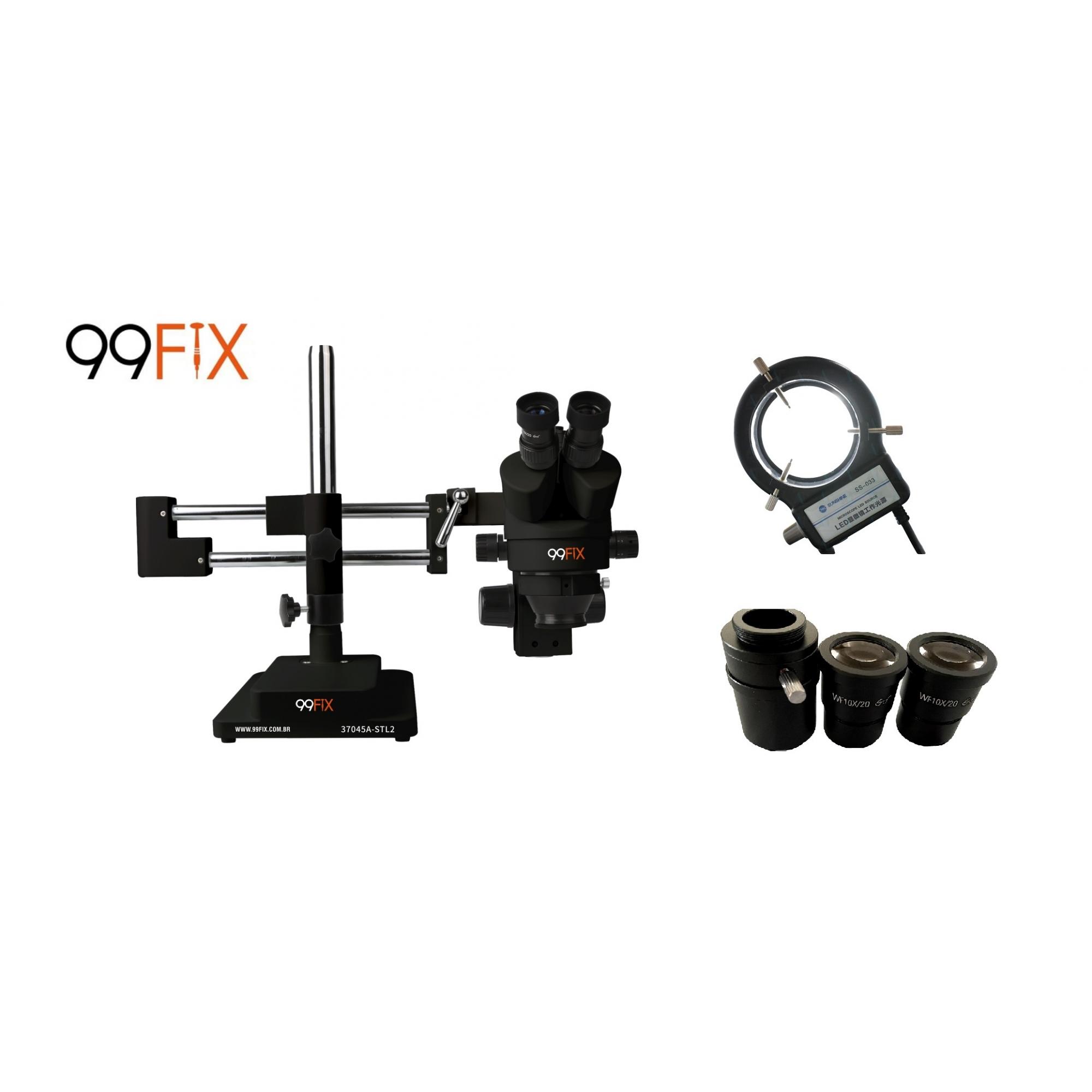 99FIX / Kaisi  37045a-stl2  Microscópio Estereoscópico Trinocular Preto Simul-focal com  luminária LED