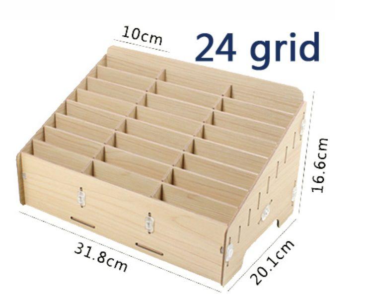 Compartimentos de armazenamento de madeira 24/48 Caixa de armazenamento multifuncional para telefones celulares Suporte para mesa Organizador de suprimentos (Maple)