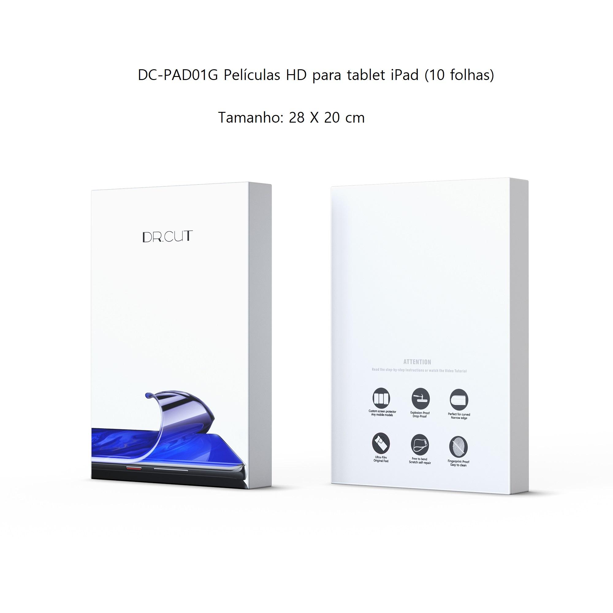 Dr. Cut DC-PAD01G Películas HD para tablet iPad (10 folhas) para Dr. Cut DC20 Película Hidrogel