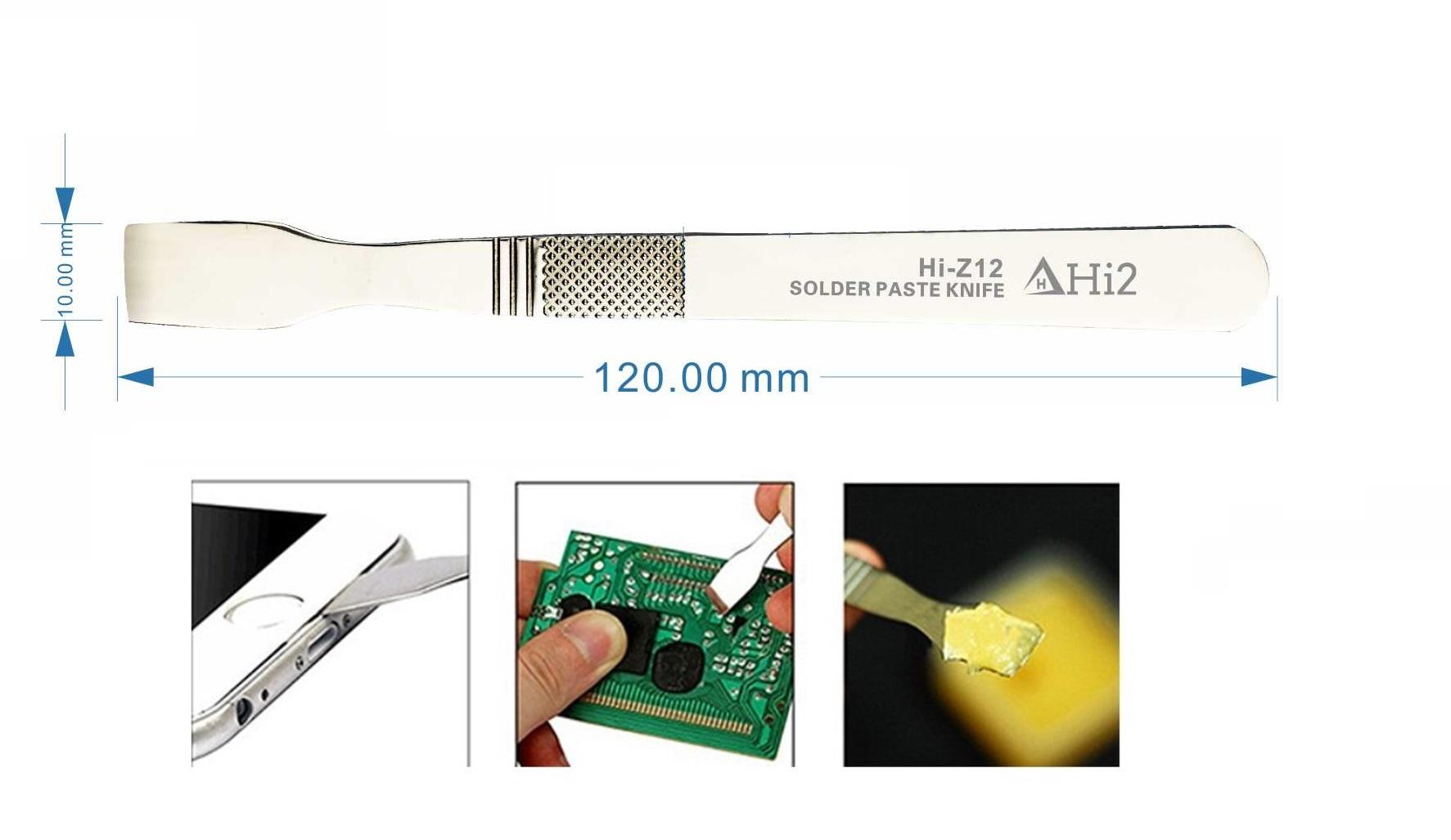 Hi2 Hi-Z12 Raspador de pasta de solda de estanho metálico para solda BGA