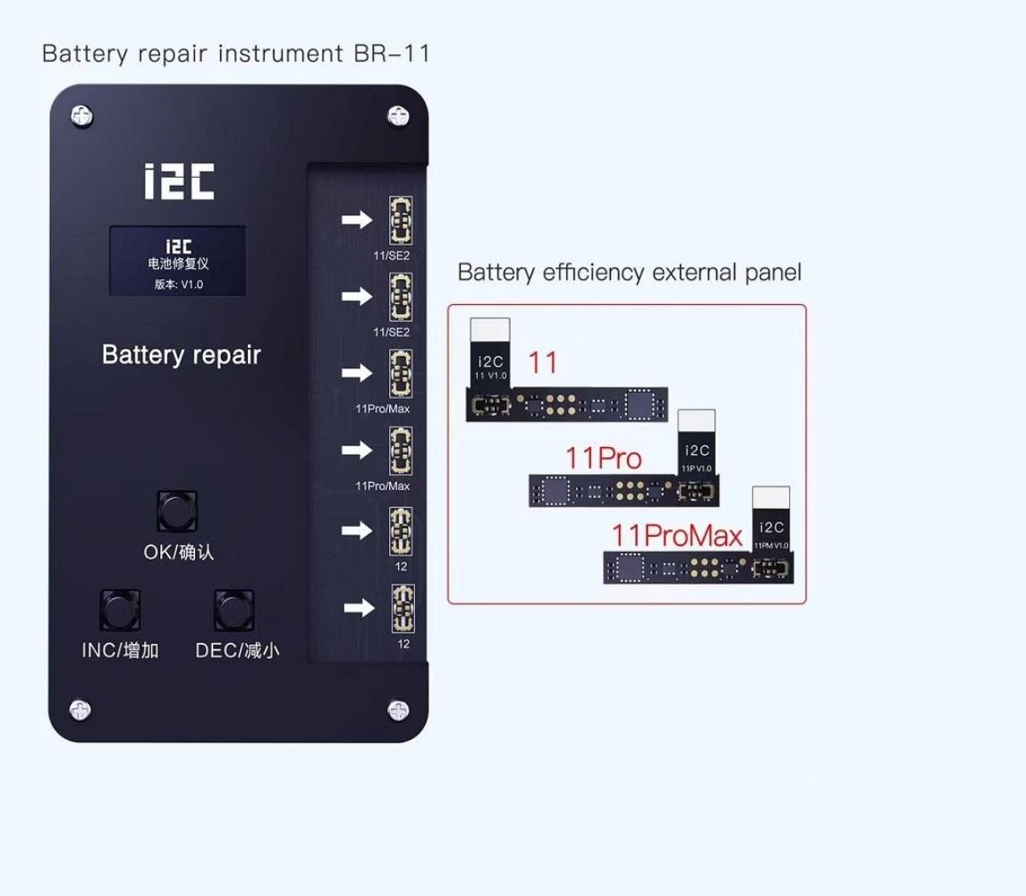 Kit Corretor de dados de reparo de bateria i2c BR-11 para iPhone 11-12 Pro Max  + Cabos flexíveis de bateria externa para iPhone 11, 11pro, 11 pro max