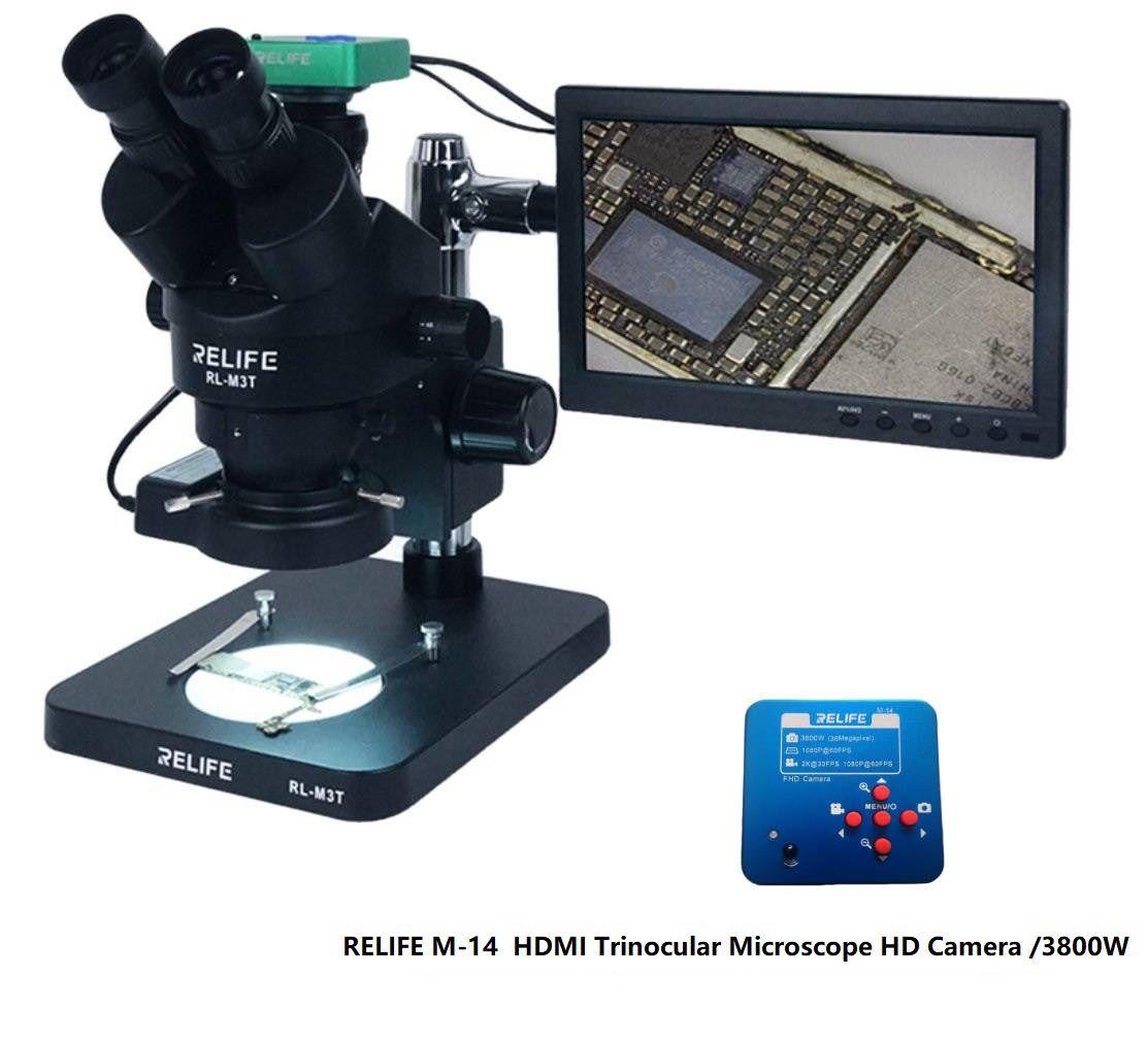Kit Relife Microscópio Trinocular RL-M3T Preto com LCD, Câmera etc (com a lâmpada LED Sunshine SS-033)