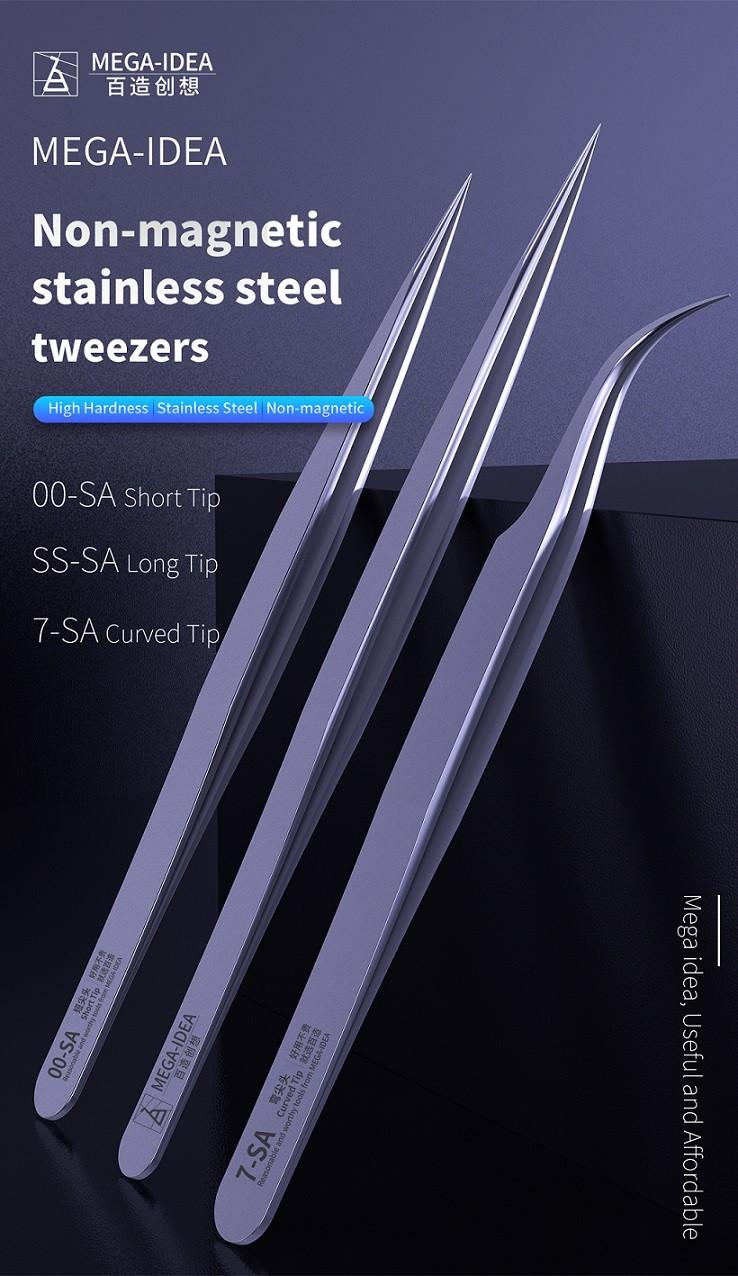 Qianli Mega-idea Pinça de aço inoxidável de alta dureza não magnética de ponta longa SS-SA / Ponta curta 00-SA / Ponta curva 7-SA