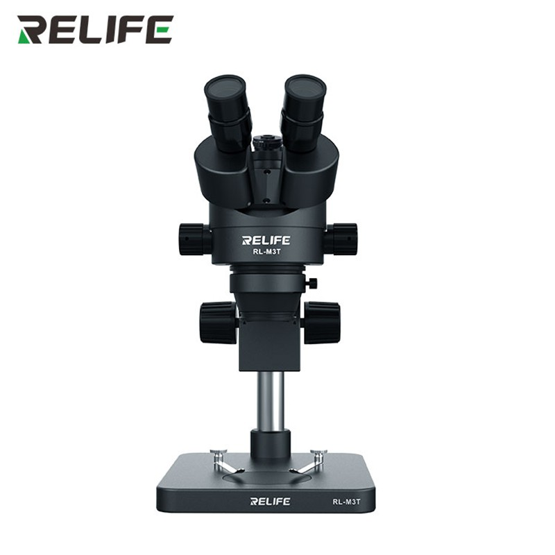 Microscópio Trinocular Preto RL-M3T da Relife com Adaptador 0,5X e a lâmpada LED