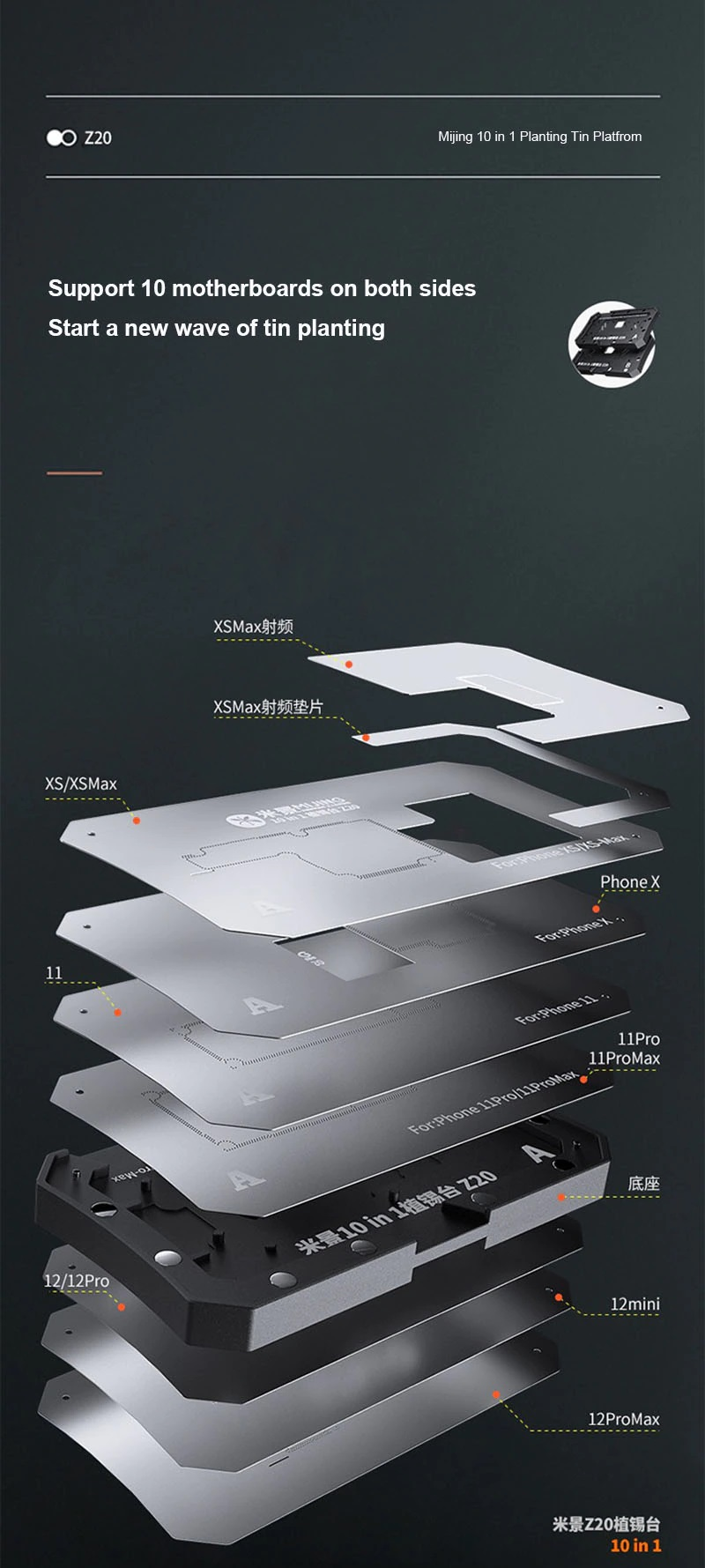 MIJING Z20 Kit de fixação / suporte para reballagem BGA com estênceis para iPhone X / XS / XS Max / 11 / 11Pro / 11 Pro Max / 12 / 12mini / 12Pro / 12ProMax