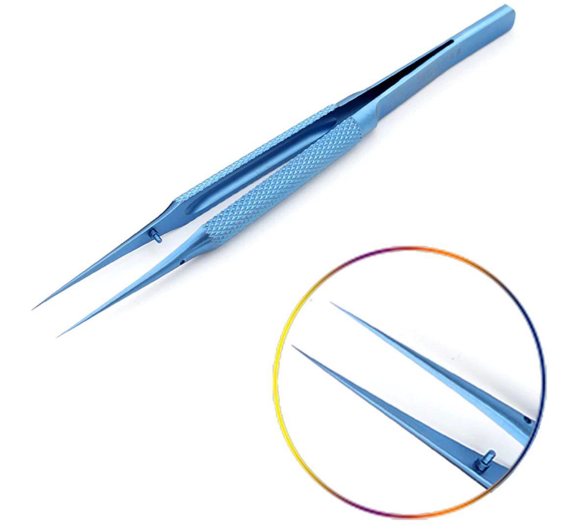 Pinça De Titanio Original Azul Antiestática Reta ou Curva Bt11 Anúncio com variação titânio