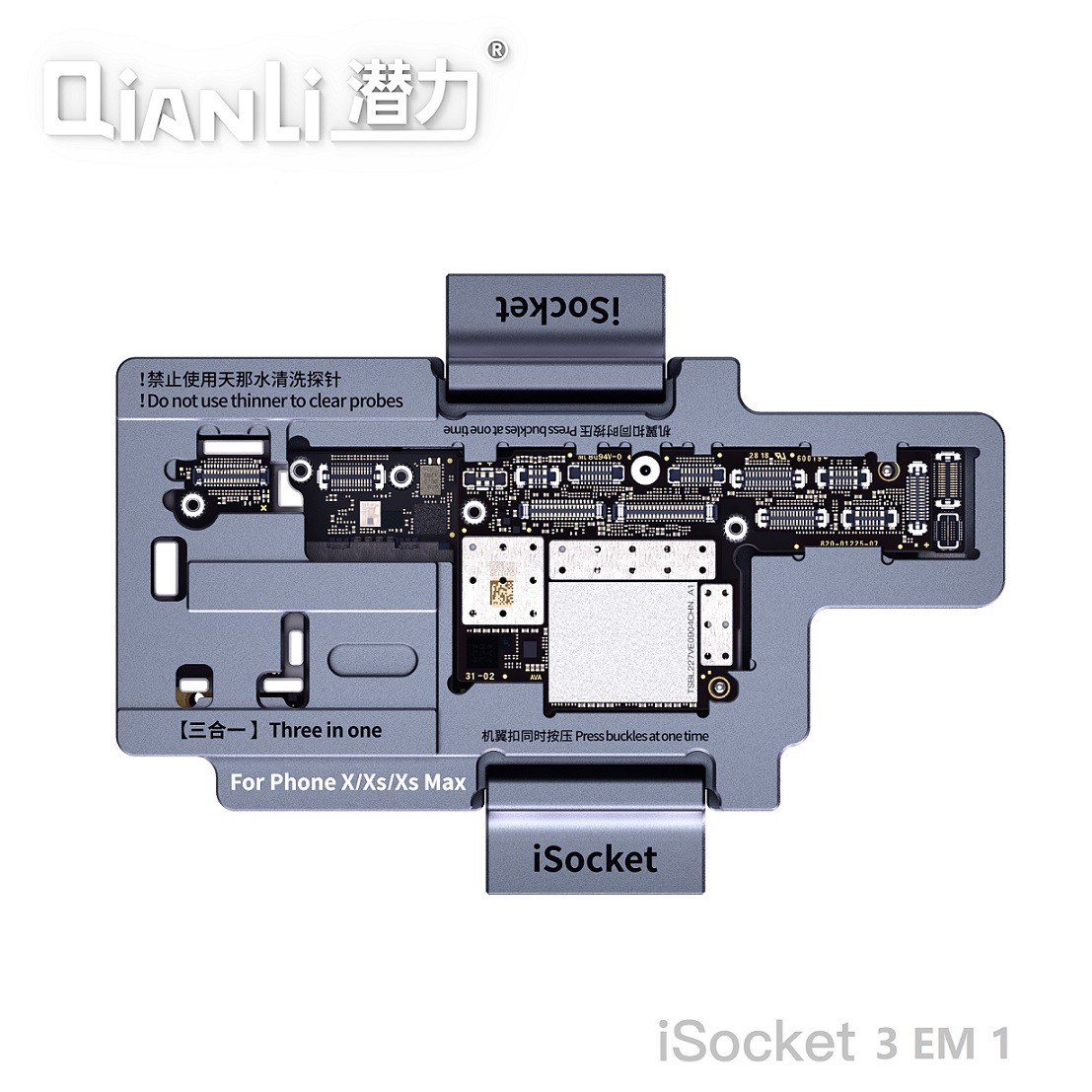 Qianli iSocket 3 em 1 para iPhone X / XS / XS max Quadro de teste em camadas da placa-mãe