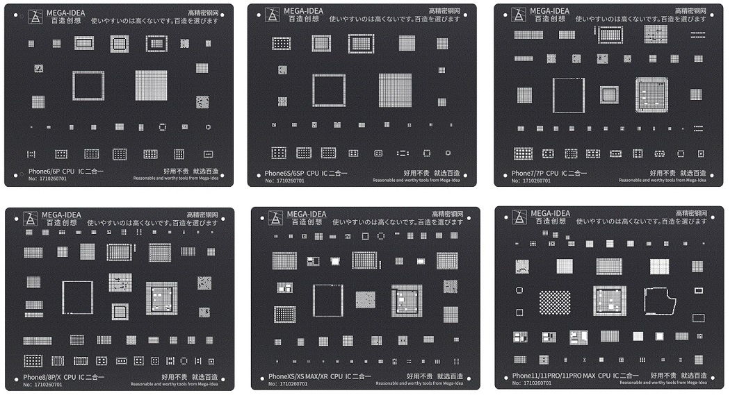 Qianli Mega-idea Reballing Black Stencil Para iPhone 6-11 Pro Max CPU e Cis/ICs