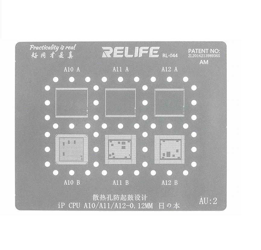 Relife Rl-044  AU2 Precisão Bga Stencil Para A10,A11,A12 (iPhone 7, 7 Plus, 8, 8 Plus, X , XS, XS XSM, XR)