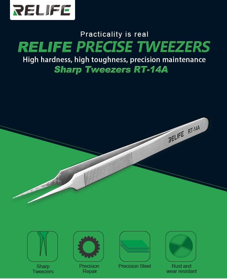 Relife RT-14A/ RT-14SA pinças de reparo do telefone móvel anti-estática alta dureza precisão ponta fina mais anti-skid chip reparação
