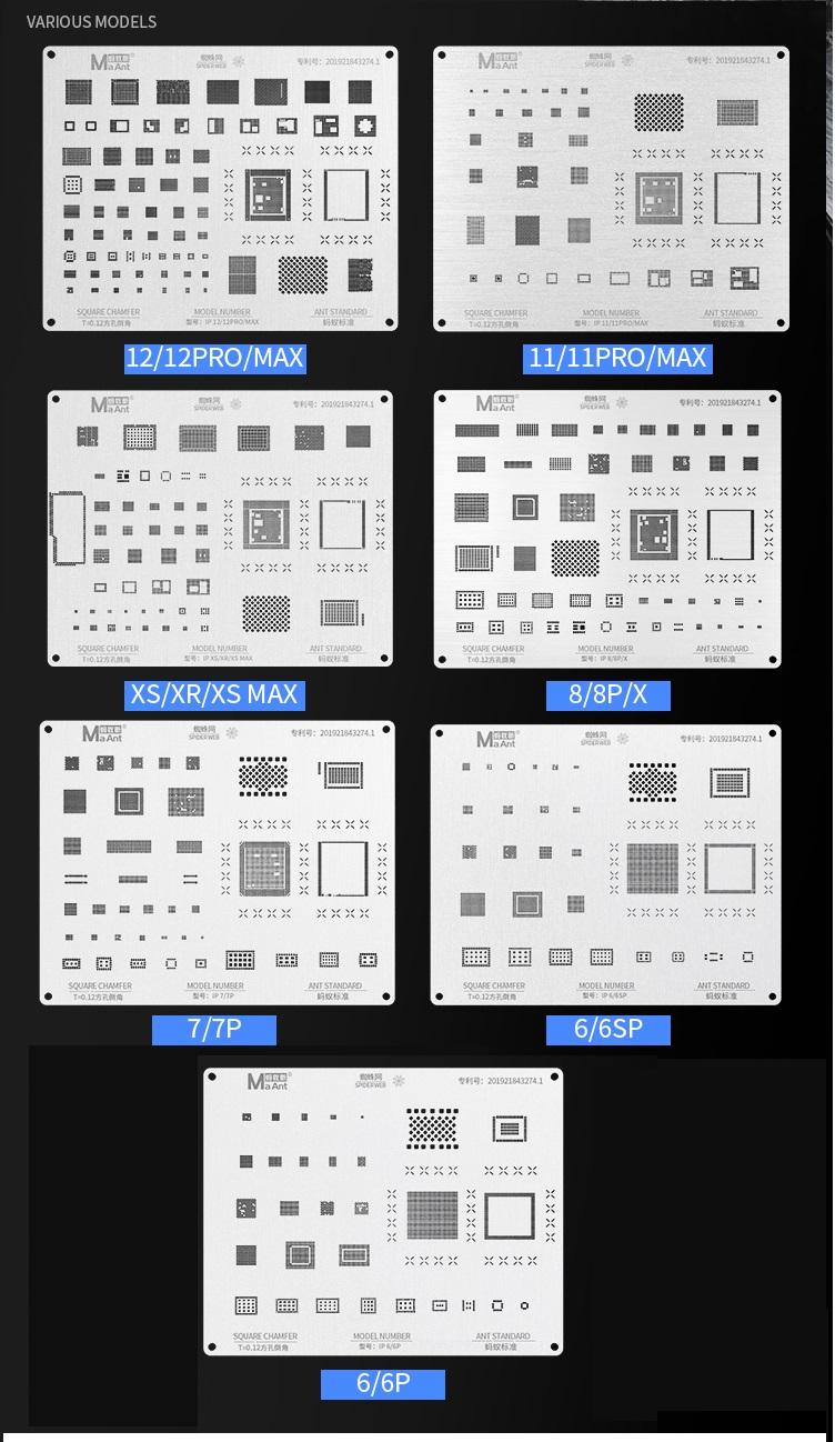 Seriais Maant Spider Web Stencils para iPhone 6 - 12 pro max ICs e CPU A8-A14