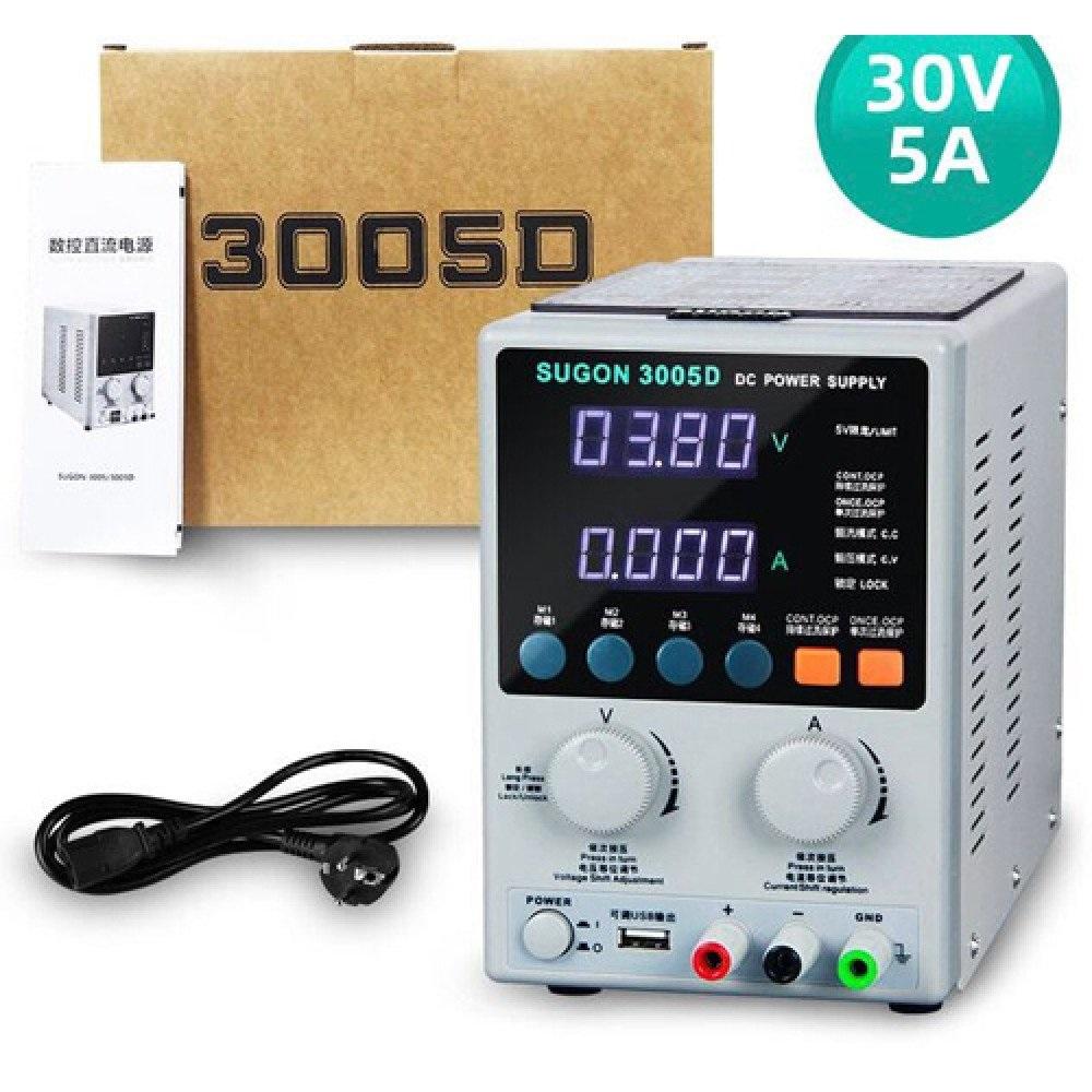 SUGON 3005D DIGITAL AJUSTÁVEL 30V 5A DC FONTE DE ALIMENTAÇÃO 110V / 220V