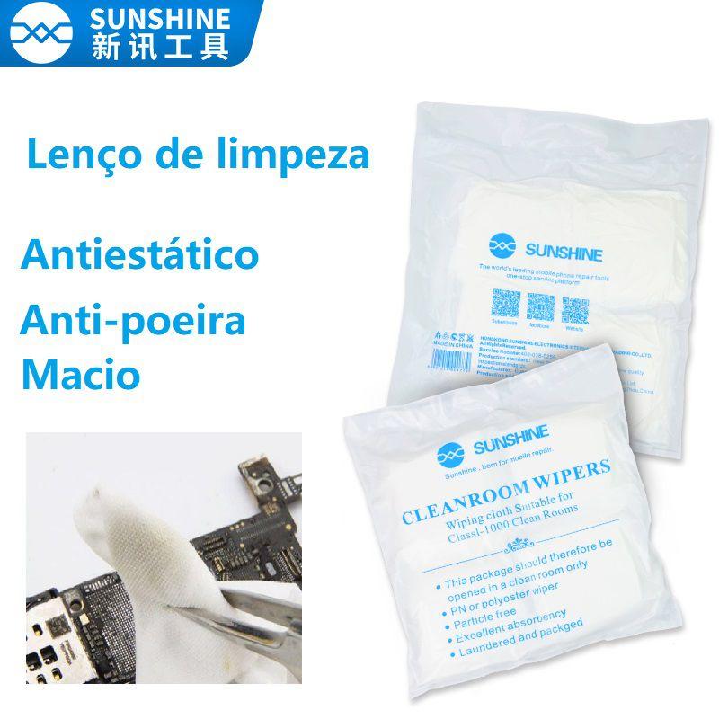 Sunshine Lenço de limpeza macio, anti-poeira, branco, lenço antiestático para salas limpas sem fiapos para limpeza do LCD  120 peças ou 160 peças