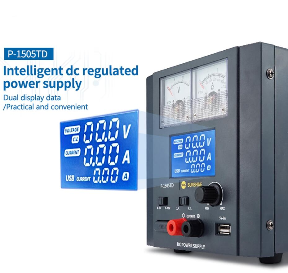 Sunshine P-1505TD fonte de alimentação regulador de comutação inteligente 5A15V DC 110V/220V