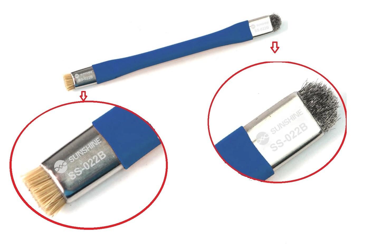 Sunshine SS-022B Escova de limpeza anti estática de duas cabeças para reparo de PCB de celulars