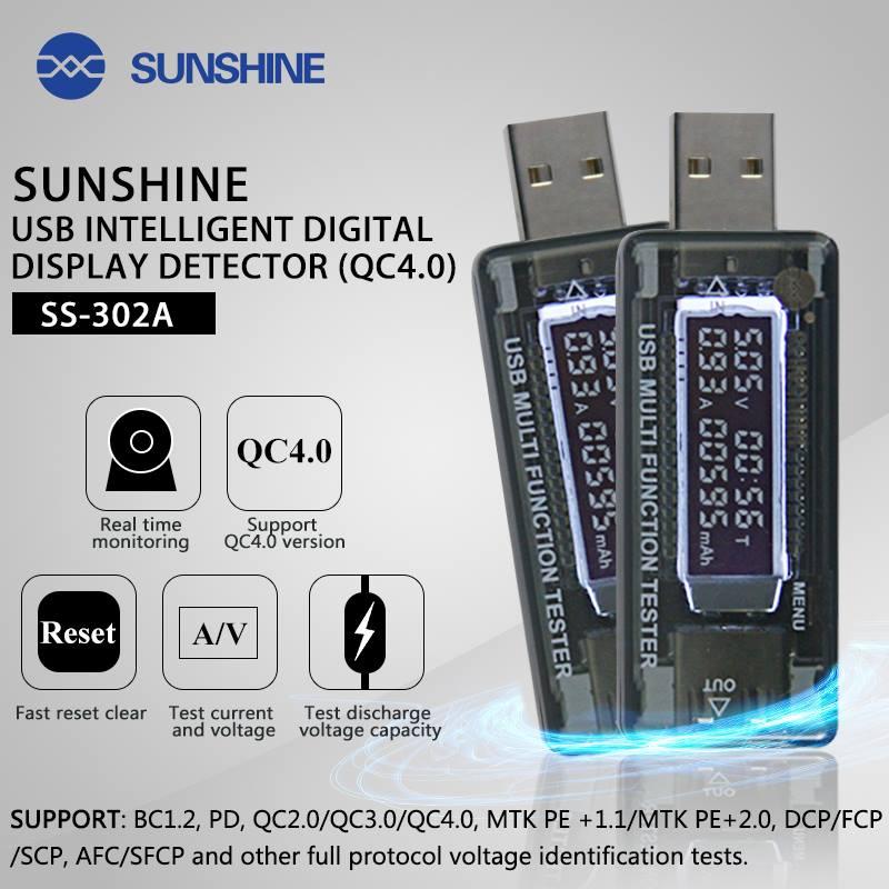 Sunshine SS-302A mini USB LED Detector de corrente de tensão para carregador de celular