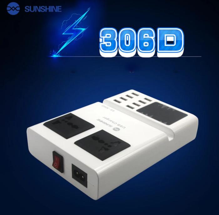 SUNSHINE SS-306D Portátil 3 em 1 Carregador Usb Inteligente de 8 Portas Com Exposição Digital Com Soquete
