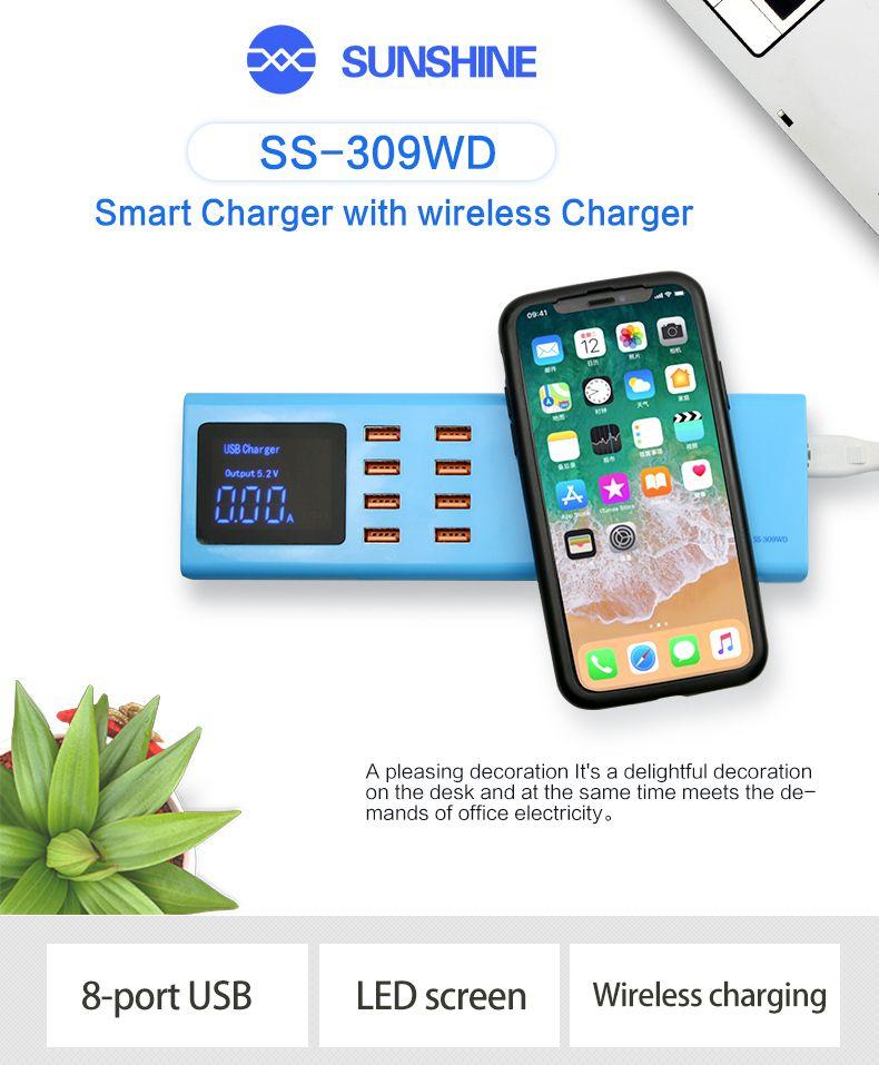 Sunshine Ss-309wd Carregador Inteligente Com Wireless com 8 Portas Usb