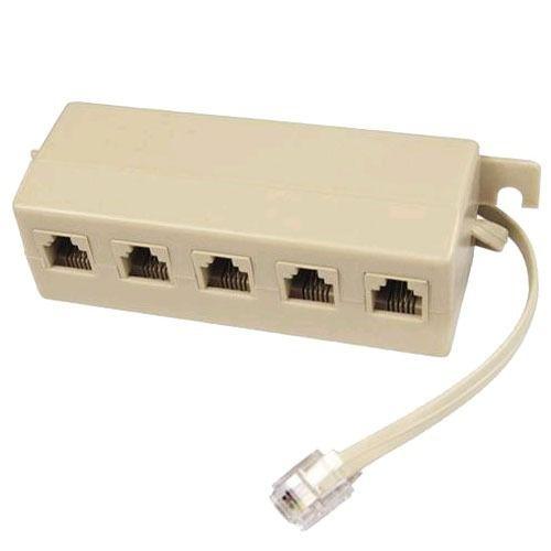Adaptador Multiplicador P/ Telefone Rj11 5 Fêmeas X 1 Macho
