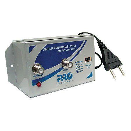 Amplificador Sinal Antena VHF/UHF - Proeletronic  20 DB