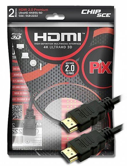 Cabo HDMI 2MTS 4K Ultra HD 2.0