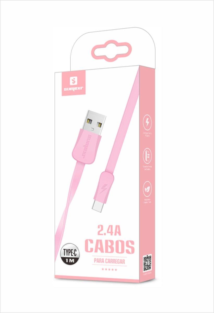 CABO USB DE CELULAR 1M TYPE-C ROSA