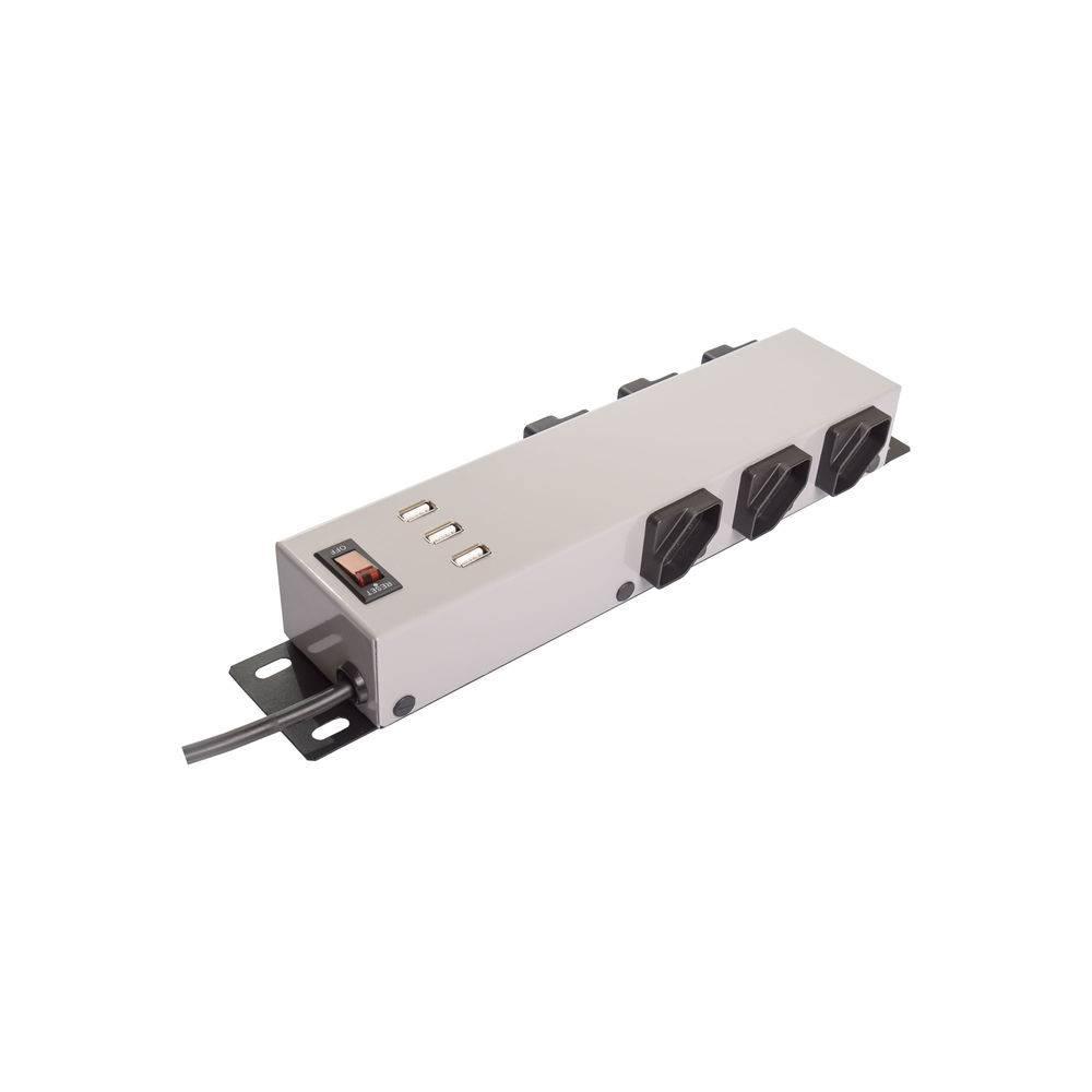 Filtro De Linha 6 Tomadas C/USB - Ipec (Cinza)