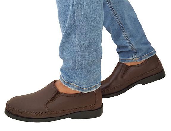 8136456df1 Sapato Casual Masculino Em Couro Linha Conforto Café 753 - O ...