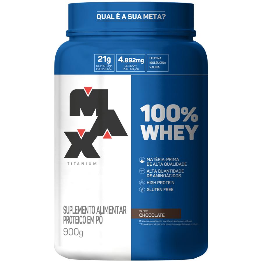 100% Whey Protein 900g Chocolate Max Titanium + Deca Testona