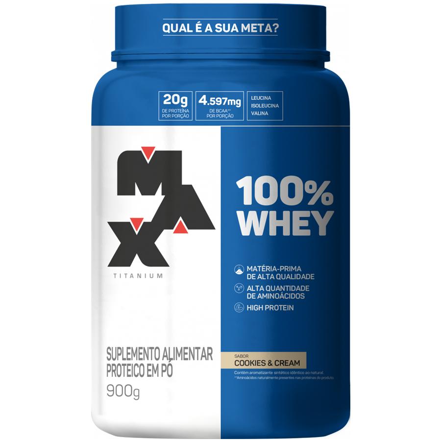 100% Whey Protein 900g Cookies Max Titanium + Deca Testona