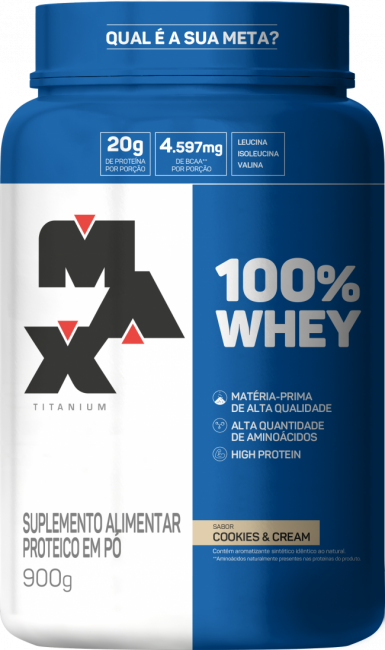 100% Whey Protein Concentrate 900g Cookies Max Titanium
