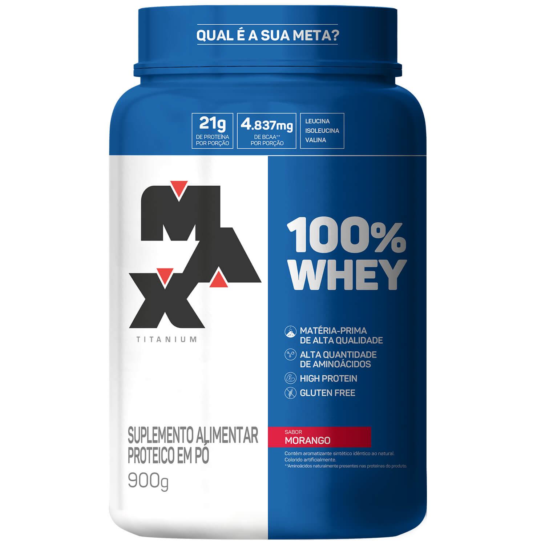 100% Whey Protein Concentrate 900g Morango Max Titanium