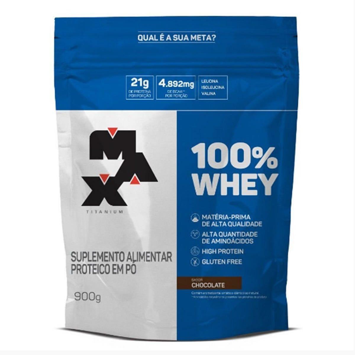 100% Whey Protein Refil 900g Chocolate Max Titanium
