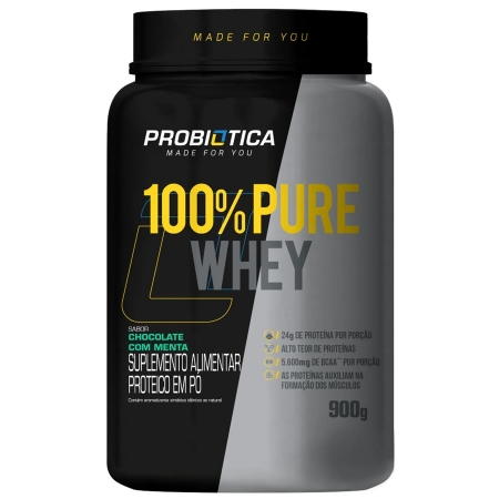 100% Pure Whey Concentrado 900g Chocolate Menta Probiótica