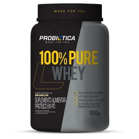 100% Pure Whey Concentrado 900g Sabor Baunilha Probiótica