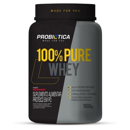 100% Pure Whey Concentrado 900g Sabor Morango Probiótica