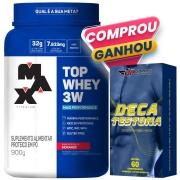100% Whey Protein 900g Morango Max Titanium + Deca Testona