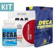 Kit Mass Titanium 17500 contém 1,4kg + Deca Testona com 60 comprimidos + BCAA POWER com 120 cápsulas