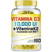 Vitamina D3 10.000UI + Vitamina K2 100mcg com 180 cápsulas