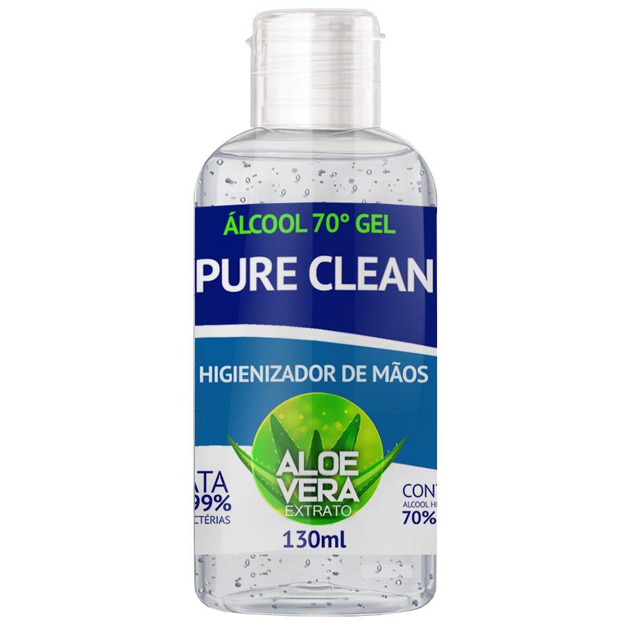 Alcool Gel 70% Pure Clean Higienizador de Mãos 130ml Aloe Vera