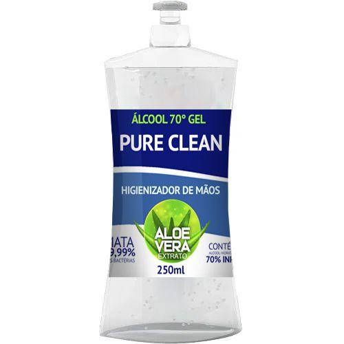 Alcool Gel 70% Pure Clean Higienizador De Mãos 250ml Aloe Vera