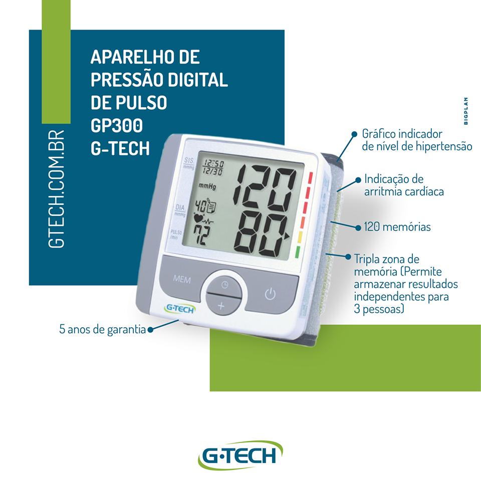 Aparelho de Pressão Digital de Pulso G-Tech GP-300