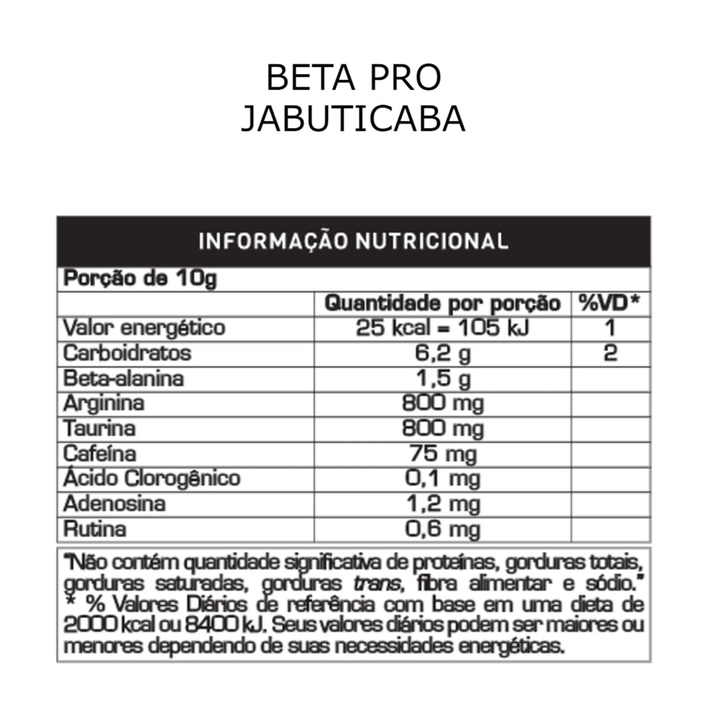 Beta Alanina Pro 200g Sabor Jabuticaba Probiótica