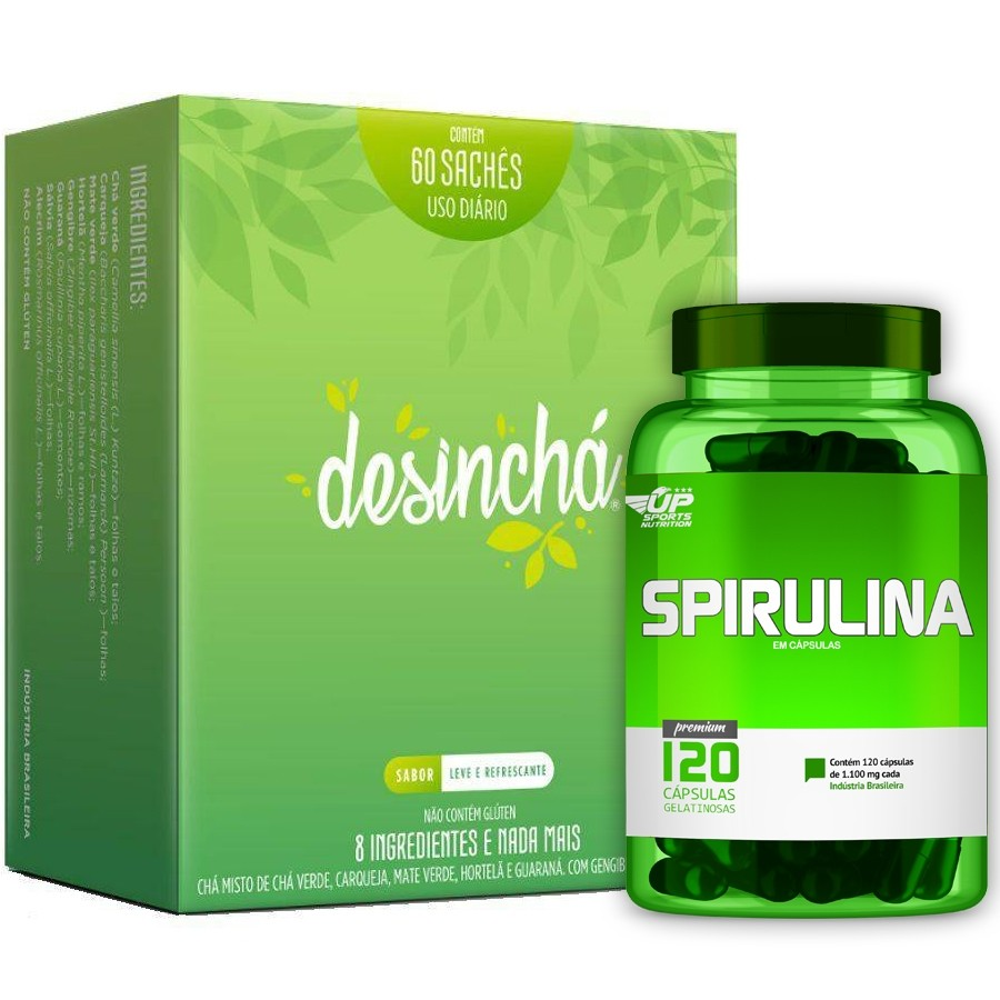 Chá Desinchá Caixa Com 60 Sachês + Spirulina 1100mg 120 Cáps