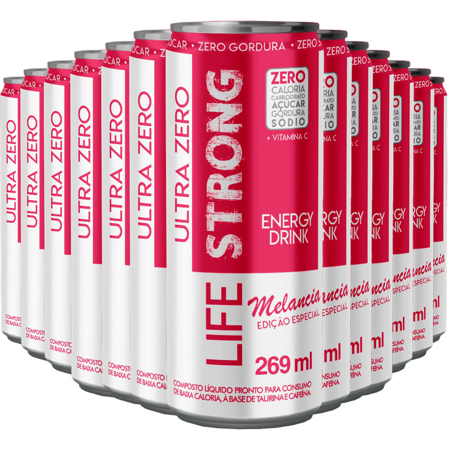Energético Life Strong Energy Drink 12 unidades Melancia