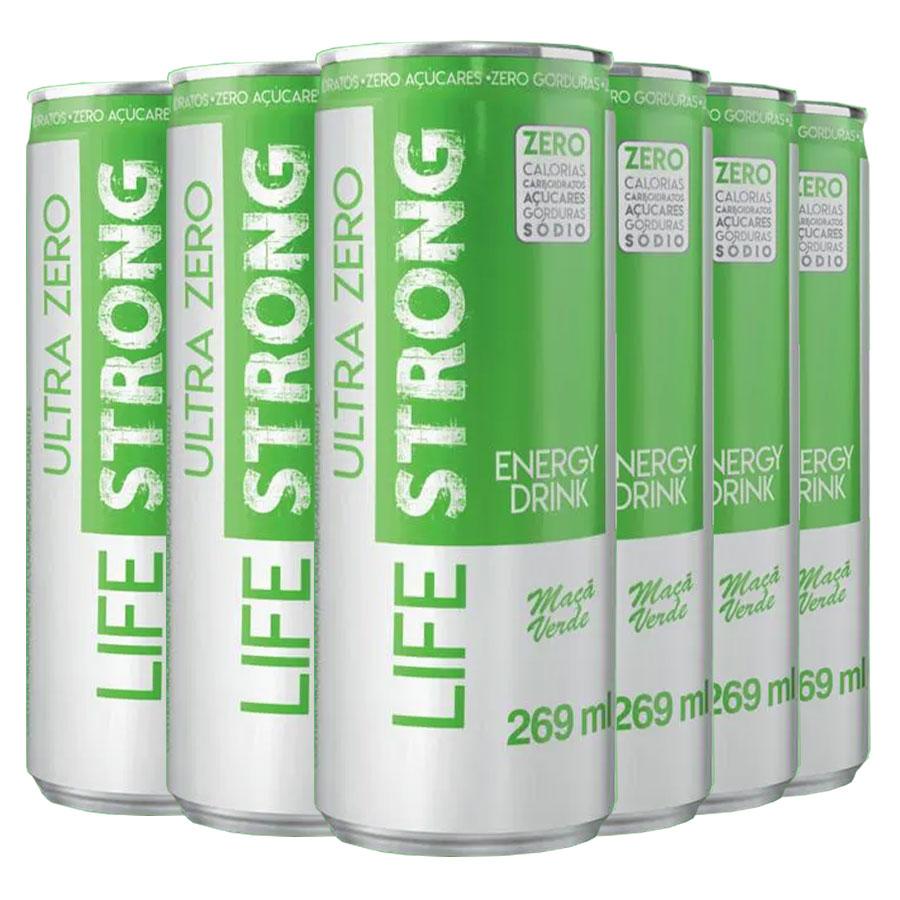 Energético Life Strong Energy Drink 6 unidades Maça Verde