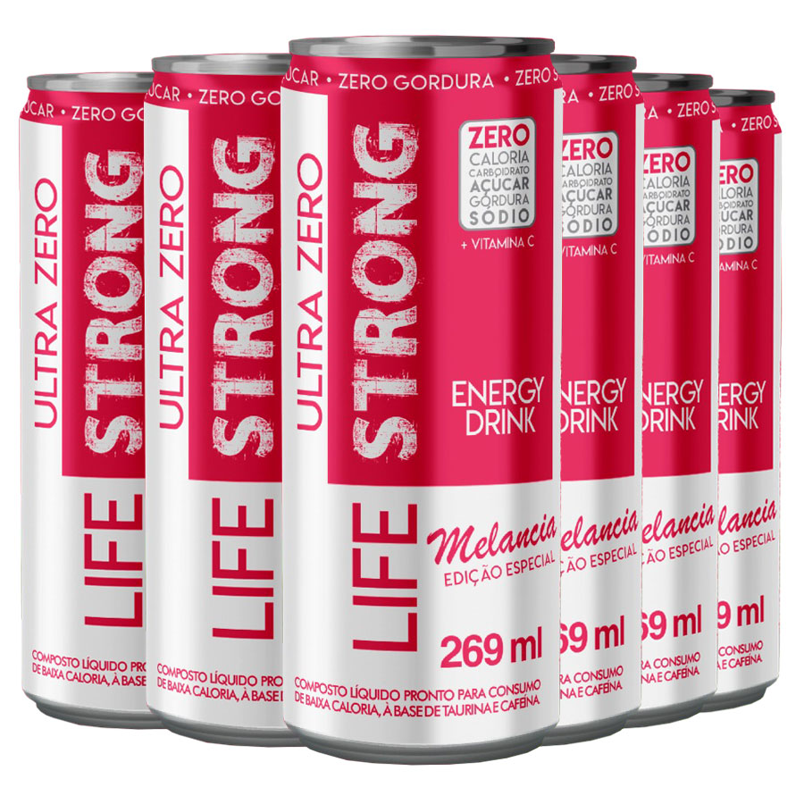 Energético Life Strong Energy Drink 6 unidades Melancia