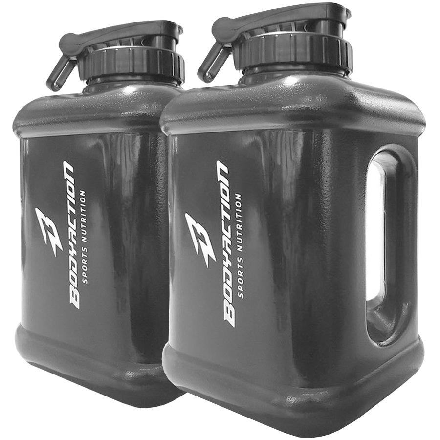 Kit 2x Galão Garrafa Água Bebida Academia 1,6 Litros Preto
